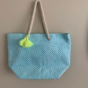 🦉/Teal & White Straw Lined Tote w/Rope Handles